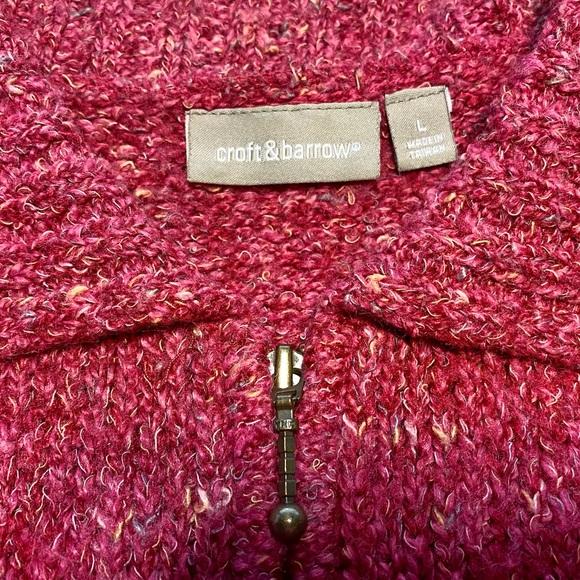 Croft & Barrow Zip Cardigan Red/Pink Marl Size L